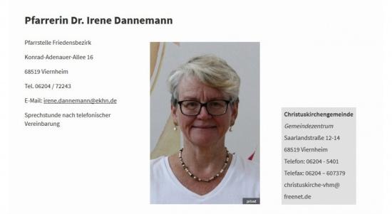 Pfarrerin Dr. Irene Dannemann